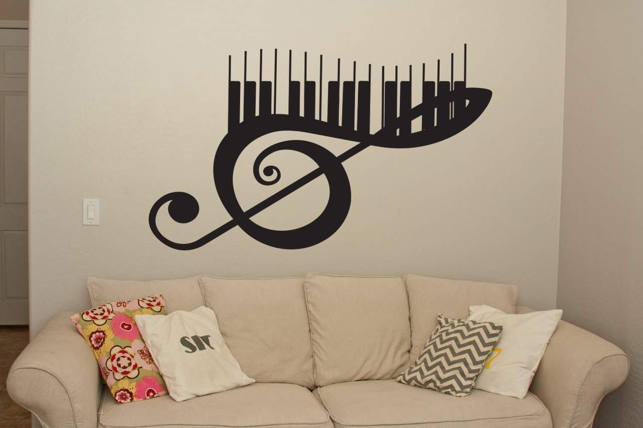 Musical Keyboard Wall Art Decal | Wall Decal | Wall Art within Music Wall Art (Image 12 of 20)