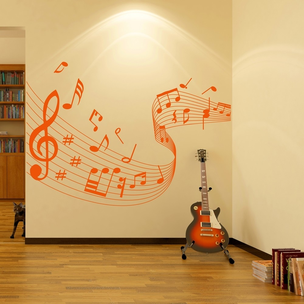 Musical Note Score Wall Stickers Music Wall Art, Wall Sticker Art in Music Wall Art (Image 13 of 20)
