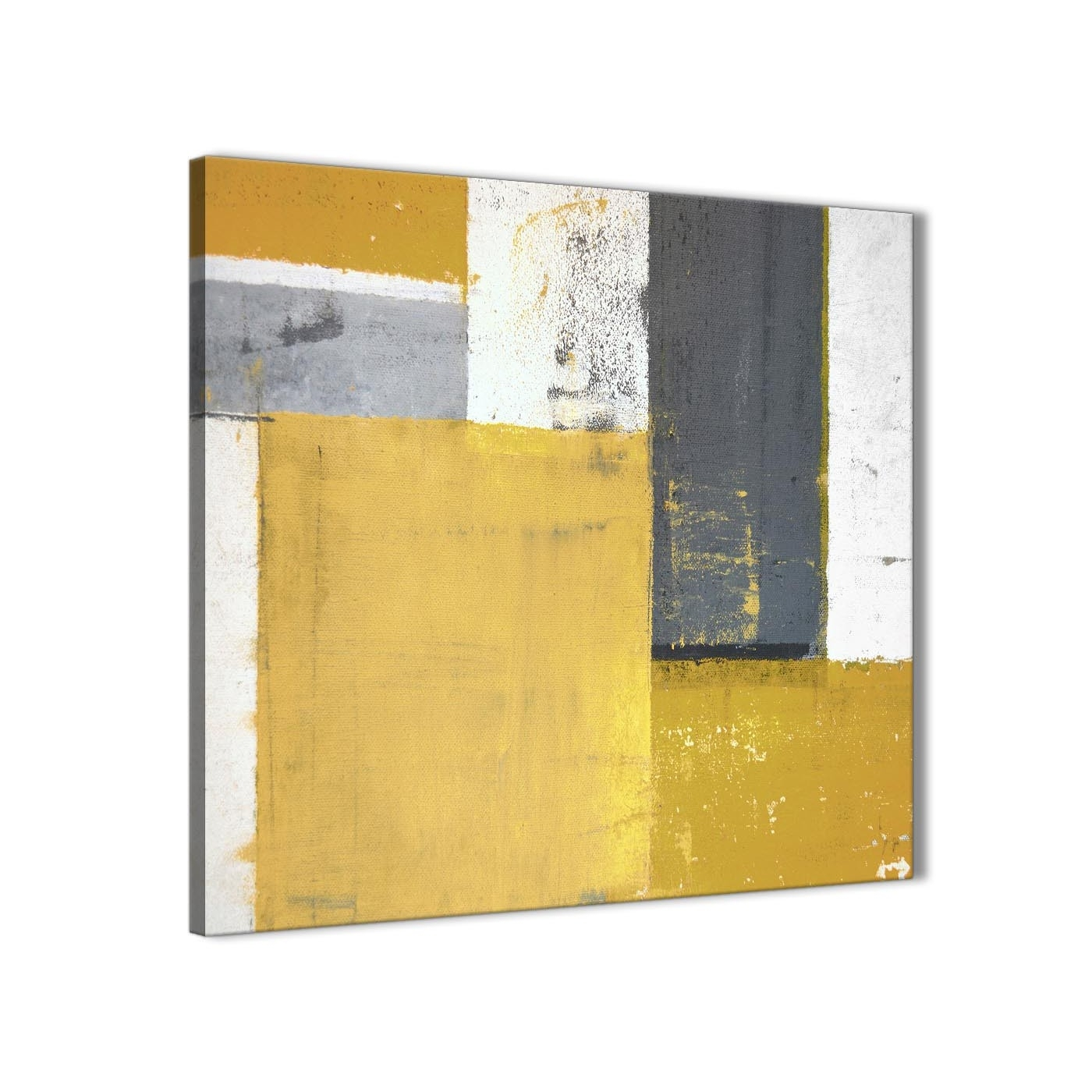 Mustard Yellow Grey Abstract Painting Canvas Wall Art Print - Modern throughout Modern Painting Canvas Wall Art (Image 18 of 20)