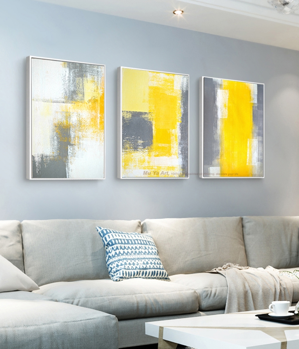 Muya 3 Piece Canvas Painting Abstract Oil Painting Handmade Bright with 3 Piece Canvas Wall Art (Image 16 of 20)