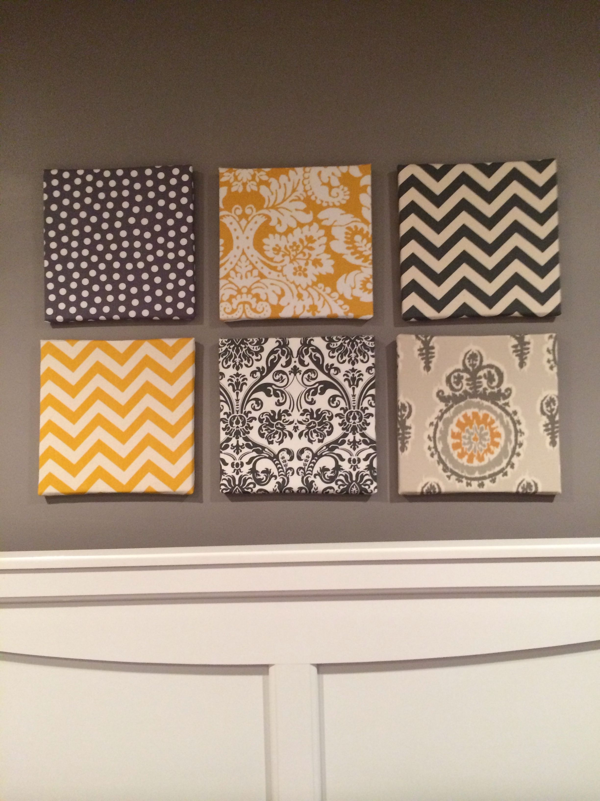 My Fabric Over Canvas Wall Art For My Gray And Yellow Themed Room regarding Canvas Wall Art (Image 17 of 20)