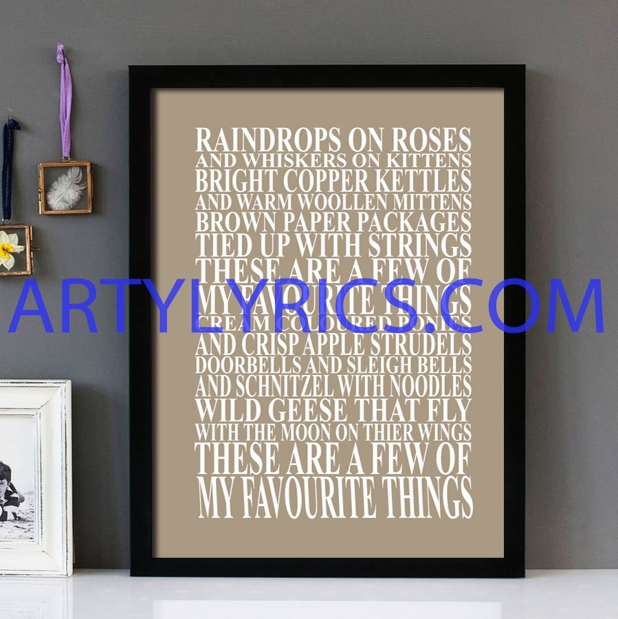 "My Favorite Things"" Sound Of Music – Framed Lyrics Wall Art Design with regard to Music Wall Art (Image 14 of 20)"
