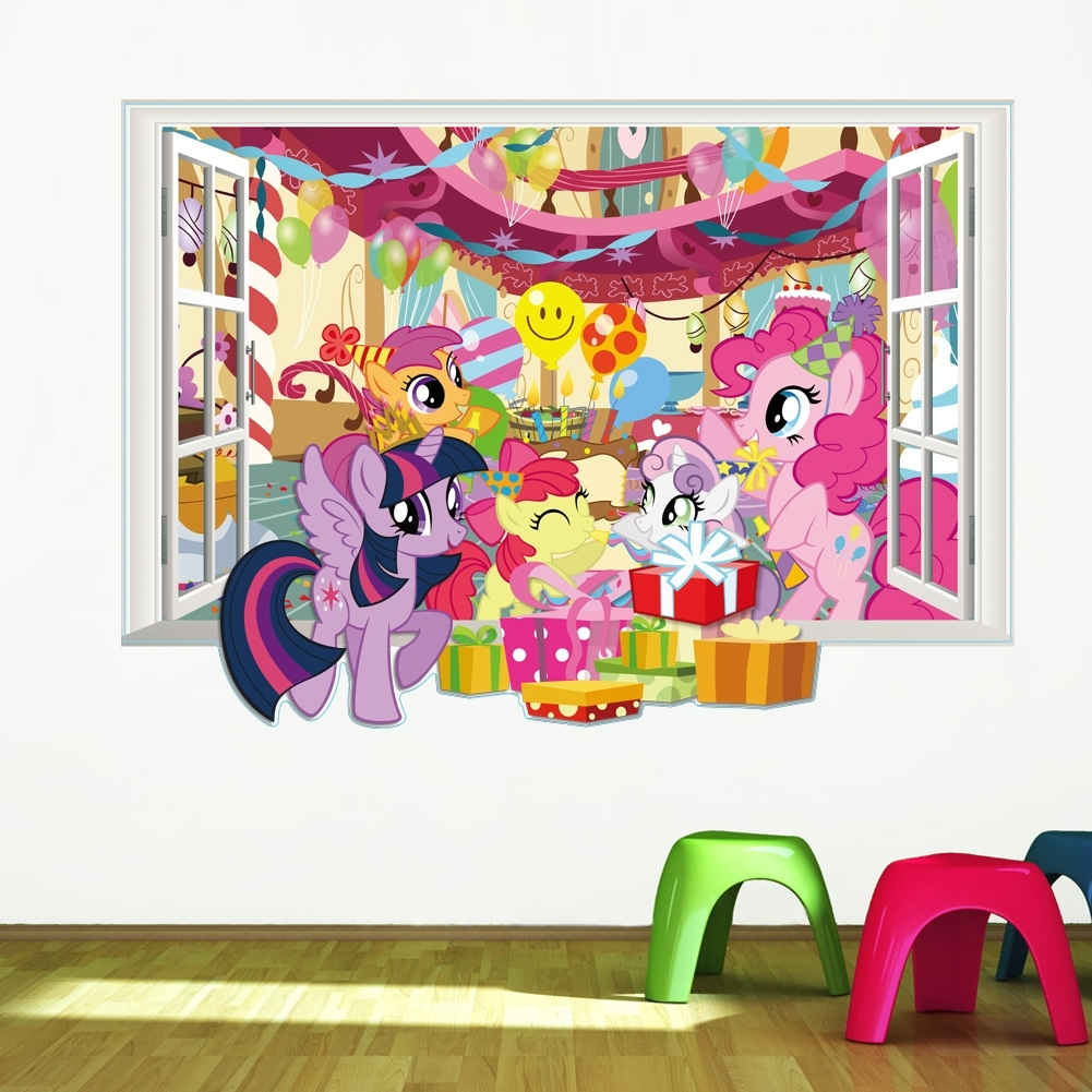 My Little Pony Wall Decals For Kids Room 3d Window Stickers Diy In My Little Pony Wall Art (View 3 of 20)