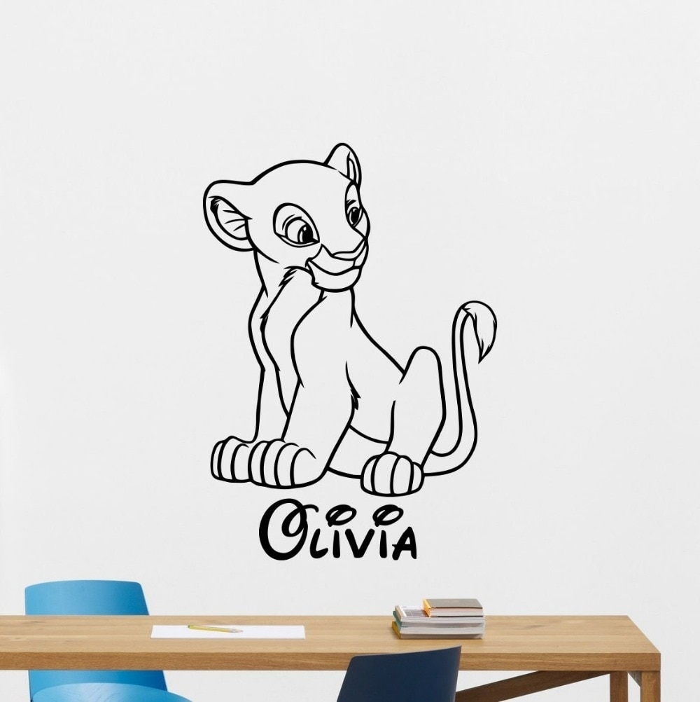 Nala Custom Name Decal Wall Sticker Lion King Wall Art Home Decor Within Lion King Wall Art (Photo 5 of 20)