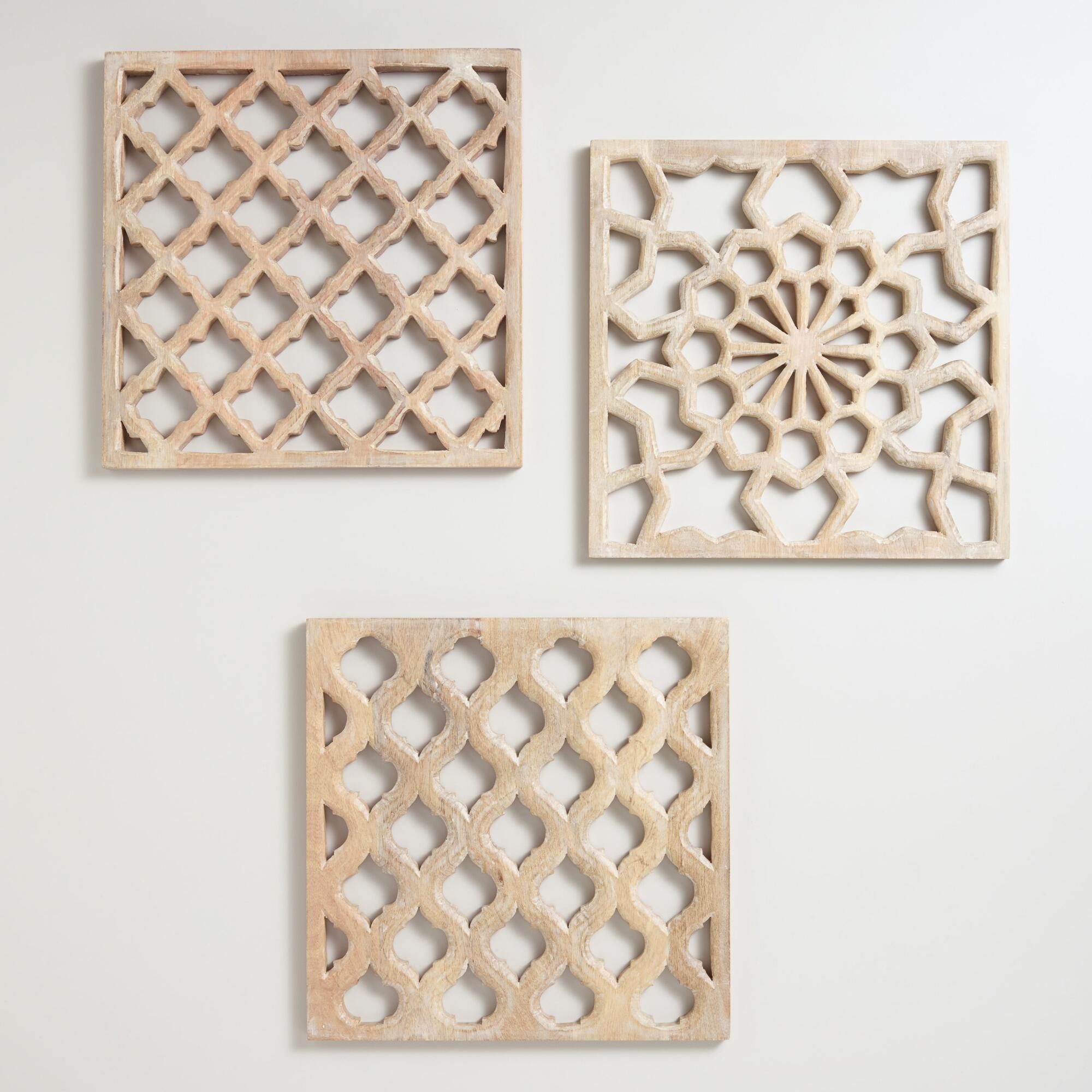 Nathan Carved Wood Wall Panels Set Of 3 World Market Regarding World Market Wall Art (View 7 of 20)