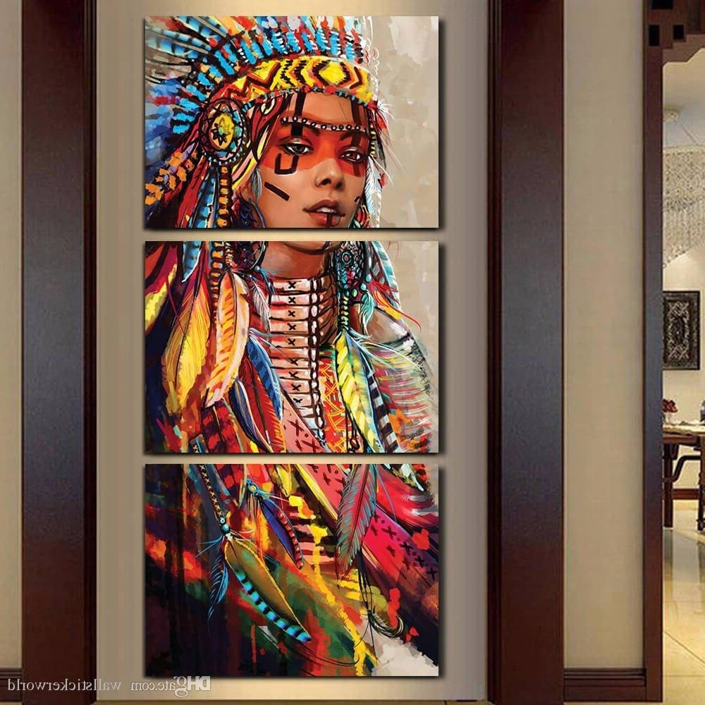 Native American Indian Painting 2018 Canvas Wall Art Canvas Painting For Native American Wall Art (Photo 10 of 20)