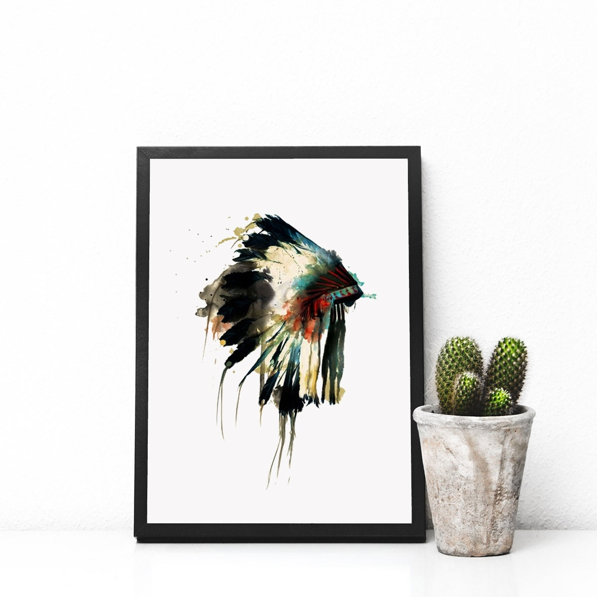 Native Indian American Headdress Art Print Feather Wall Art Wall Intended For Feather Wall Art (Photo 8 of 20)