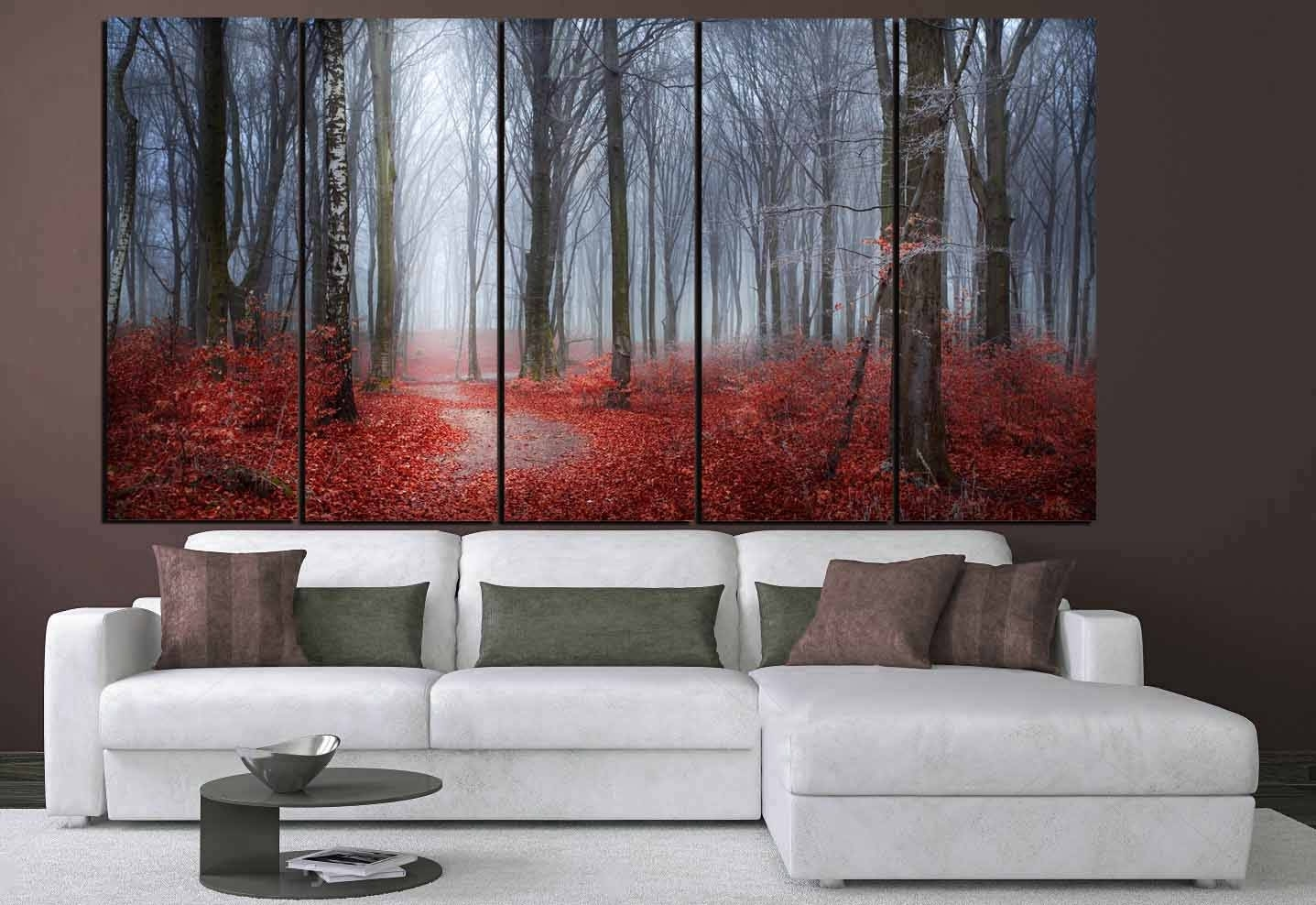 Nature Wall Art,red Leaves Blue Mist Art,red Leaves Forest,nature In Nature Wall Art (Photo 10 of 20)