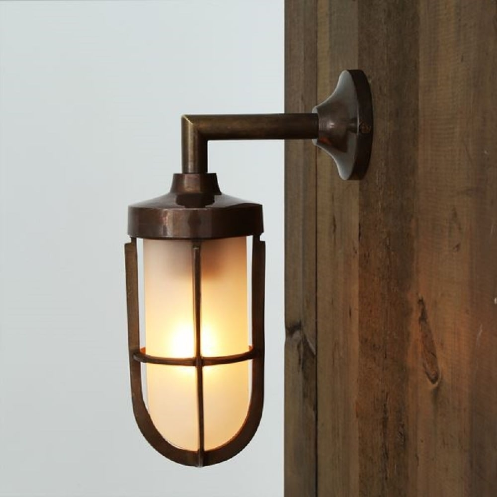 Nautical Design Solid Antique Brass Wall Light With Frosted Glass Shade for Industrial Outdoor Lanterns (Image 10 of 20)