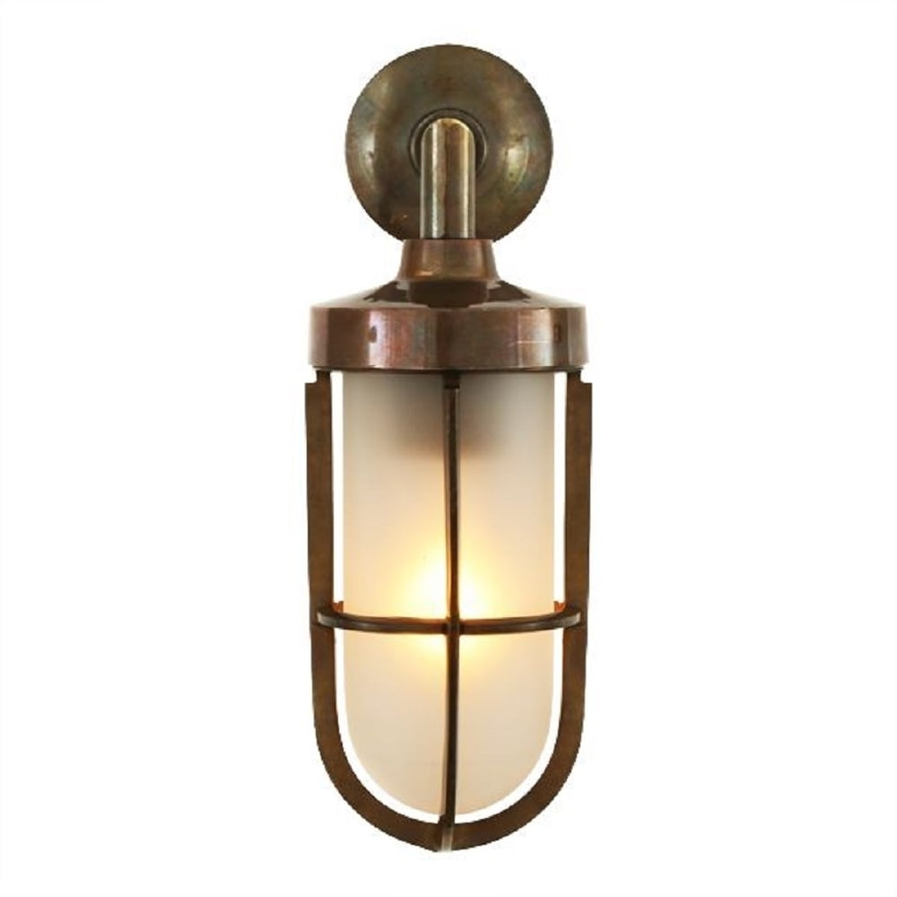 Nautical Design Solid Antique Brass Wall Light With Frosted Glass Shade in Outdoor Nautical Lanterns (Image 9 of 20)