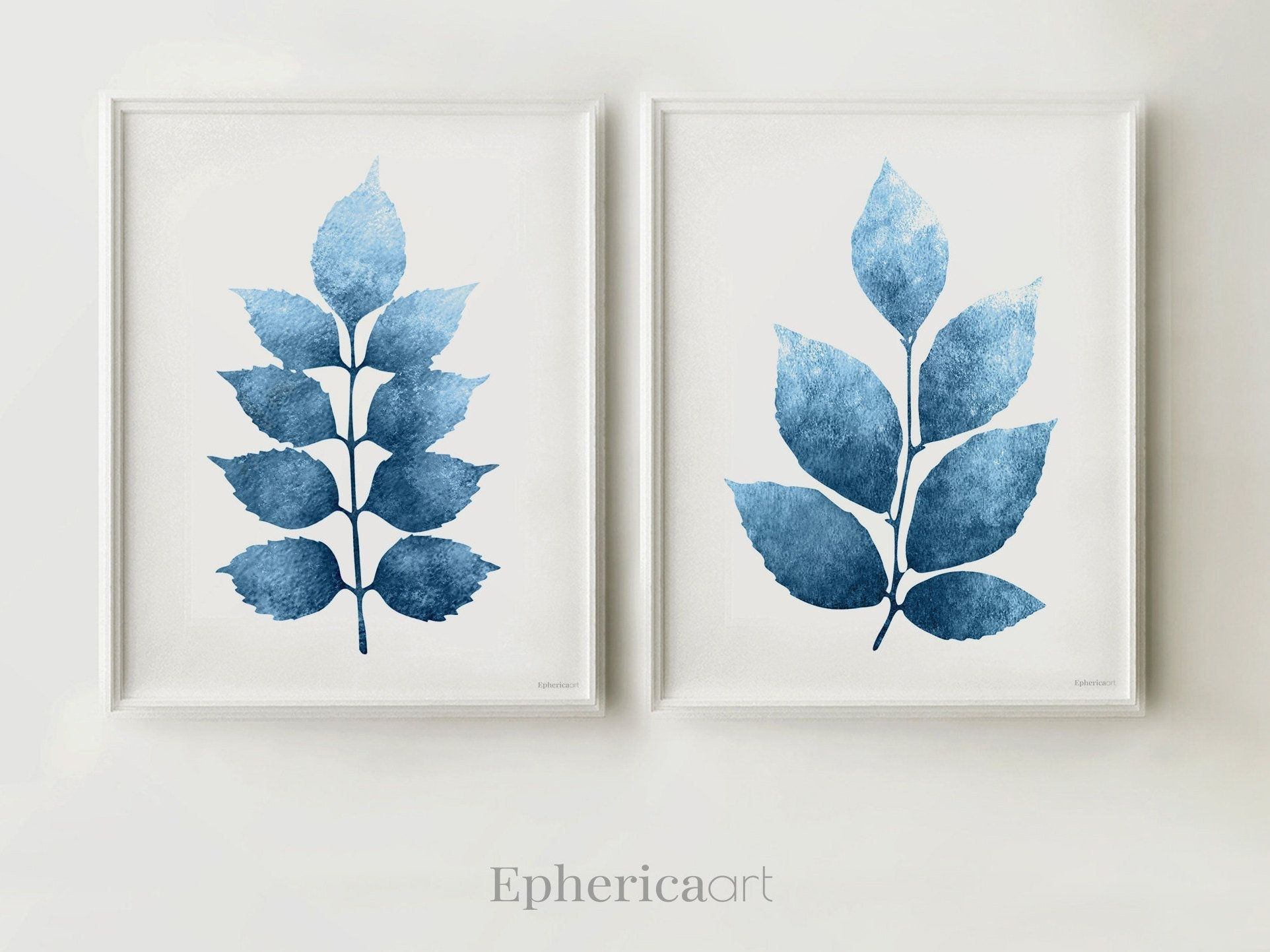 Navy Blue Wall Art, Digital Botanical Set Of 2 Artworks, Home Wall with regard to Navy Blue Wall Art (Image 13 of 20)