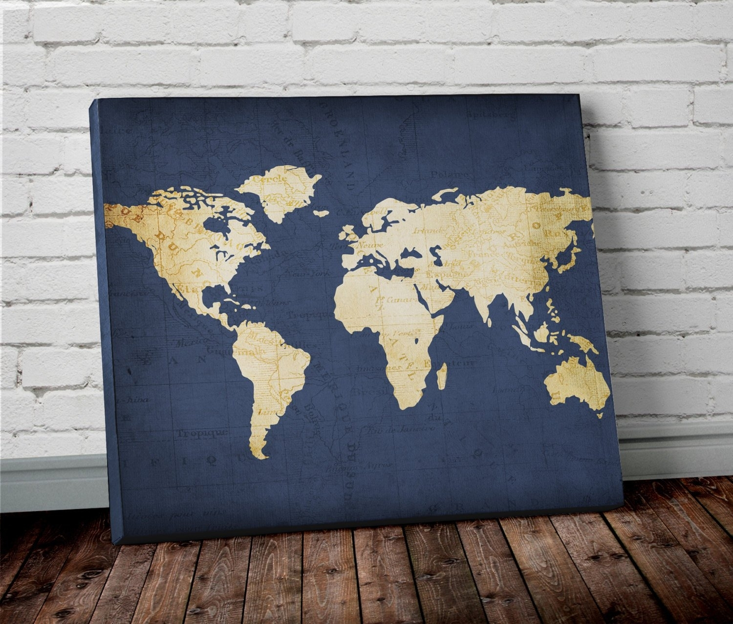 Navy World Map Wall Art Canvas World Map Print In Navy Blue | Etsy Regarding World Map Wall Art Canvas (View 6 of 20)