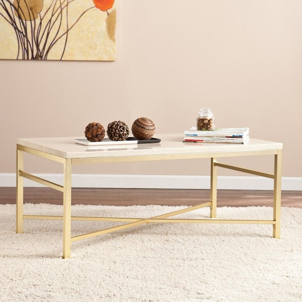 Nellie Faux Travertine And Matte Brass Coffee Table, Faux Travertine With Regard To Rectangular Brass Finish And Glass Coffee Tables (Photo 24 of 30)