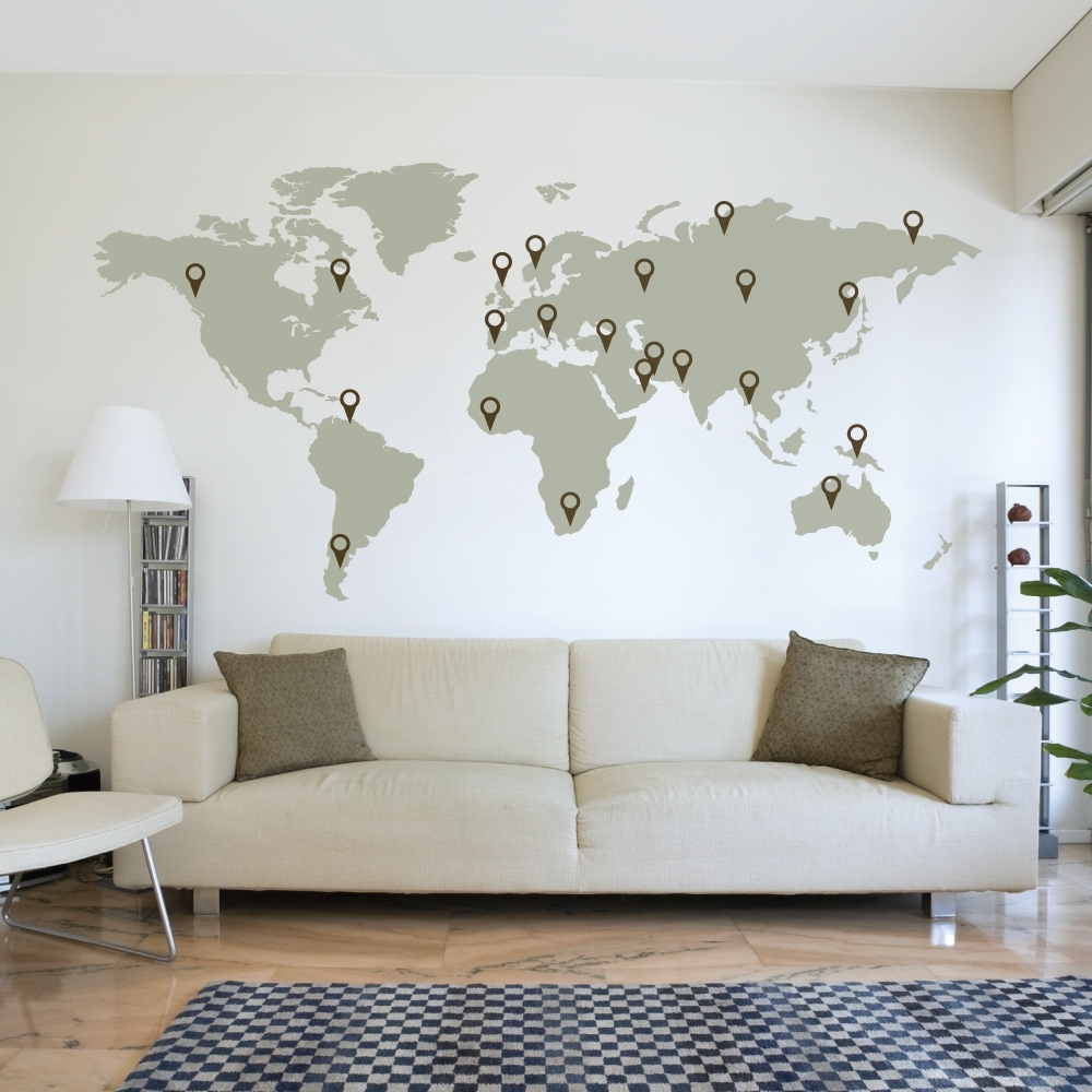 Neoteric Wall Art World Map   You Like Our Architecture Design Inside Vinyl Wall Art World Map (Photo 12 of 20)