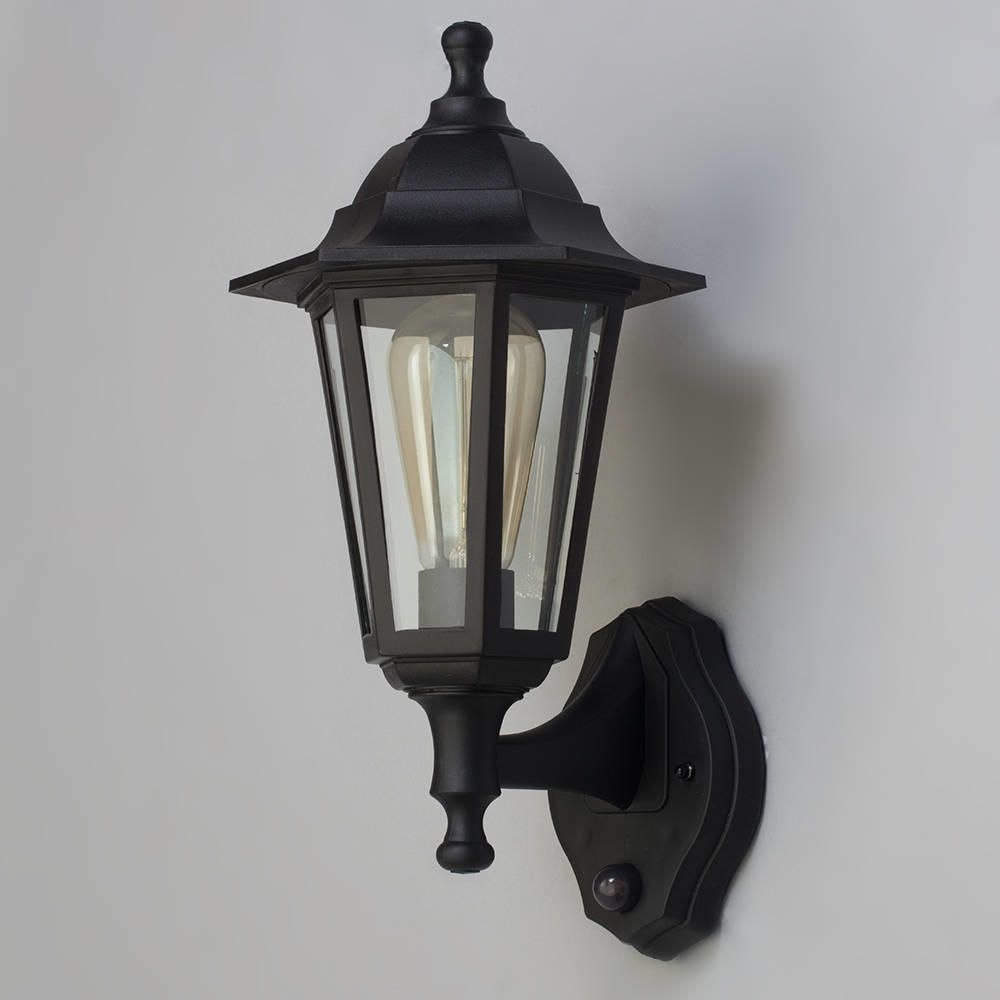 Neri Outdoor Polycarbonate Wall Lantern With Pir   Black For Victorian Outdoor Lanterns (Photo 9 of 20)