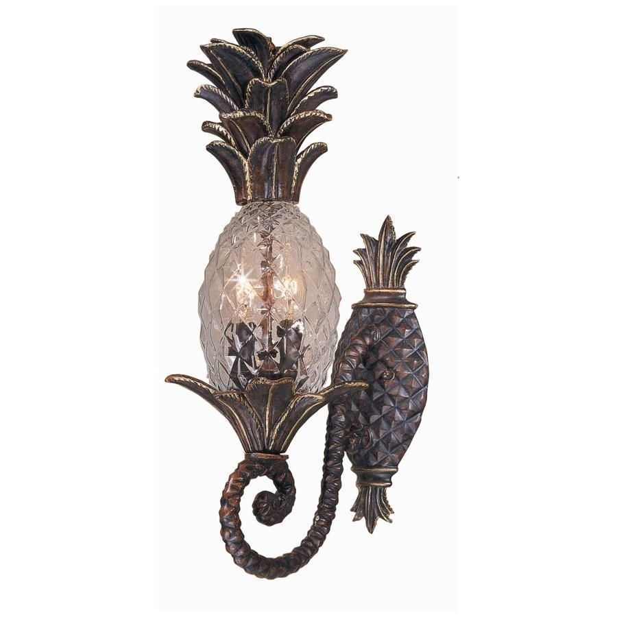 New 2 Light Tropical Outdoor Wall Lamp Lighting Fixture, Bronze with regard to Outdoor Pineapple Lanterns (Image 11 of 20)