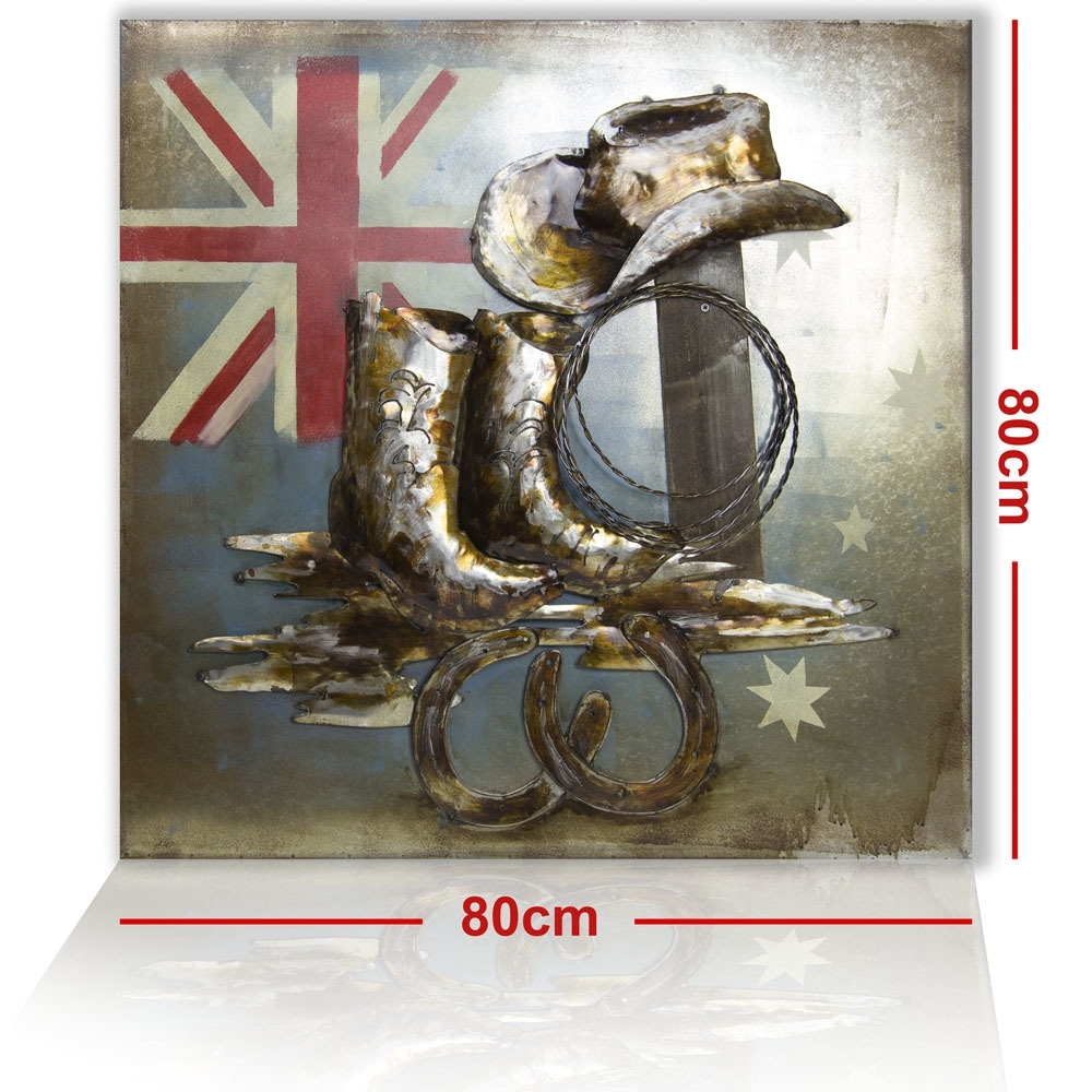 New 3D Metal Wall Art - Cowboy Gear - 80Cm*80Cm - 7707 Wall Art with regard to 3D Metal Wall Art (Image 15 of 20)