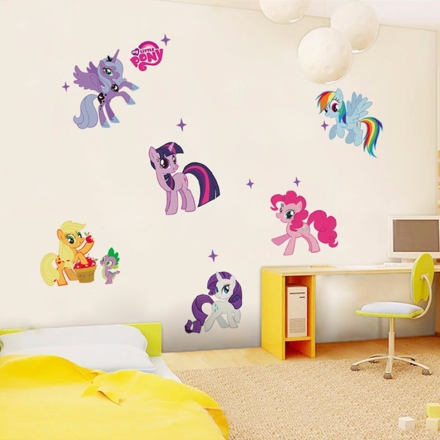 New Arrival Kid Wall Stickers My Little Pony 6 Ponies Removal Wall Pertaining To My Little Pony Wall Art (Photo 12 of 20)
