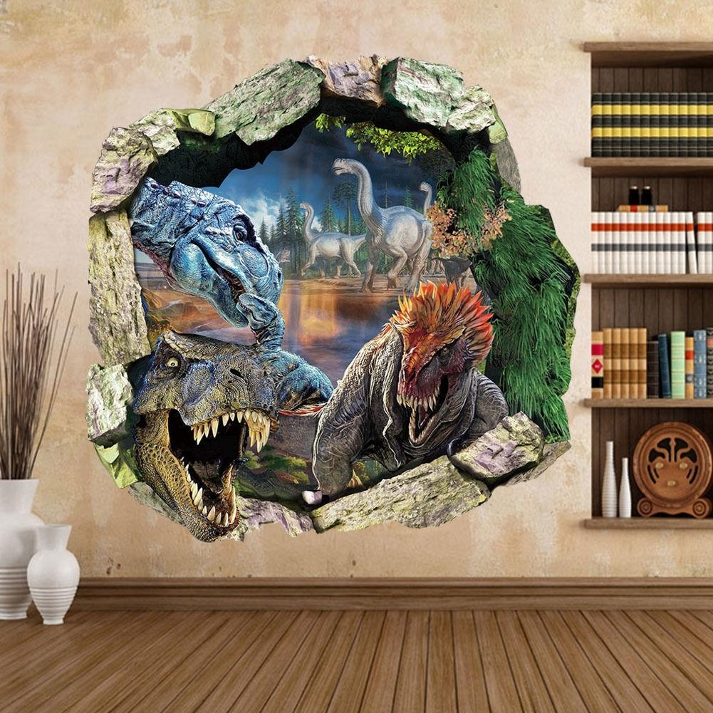 New Big Jurassic Park Dinosaur Wall Sticker Vinyl Decal Mural Art With Dinosaur Wall Art (Photo 14 of 20)