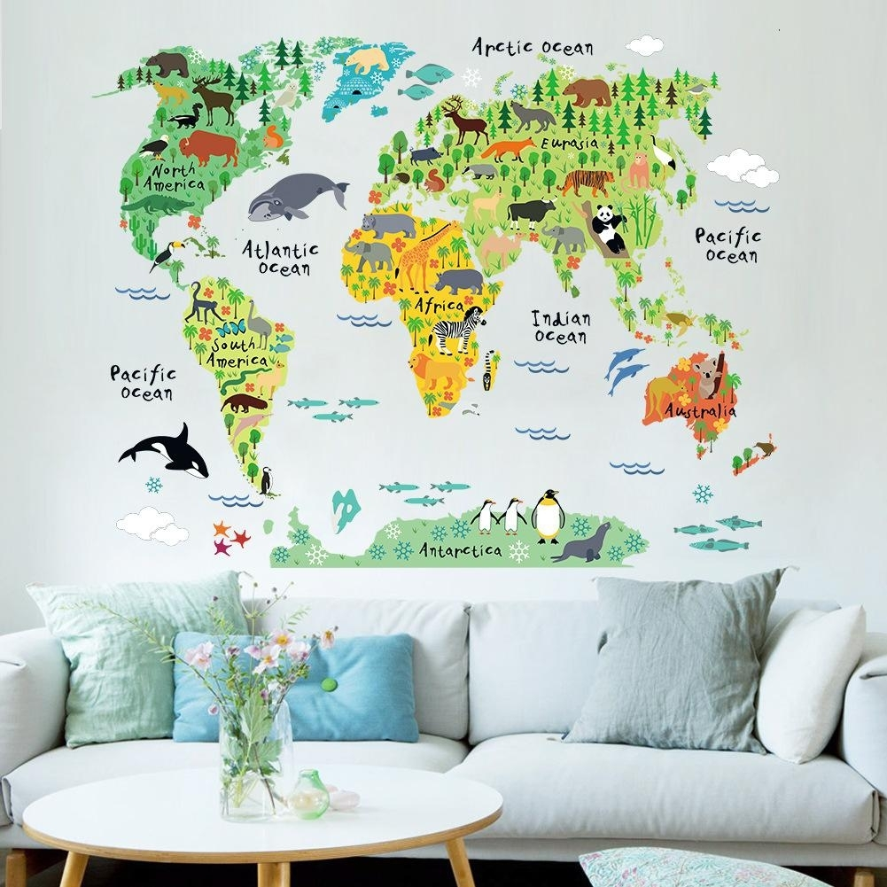 New Cartoon Animal World Map In English Childrens Living Room In Wall Art Stickers World Map (Photo 5 of 20)