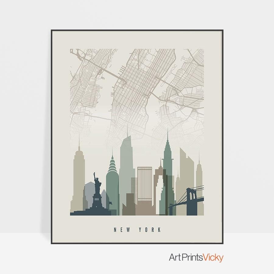 New York City Map New York Map Poster New York Skyline Wall Art (View 17 of 20)