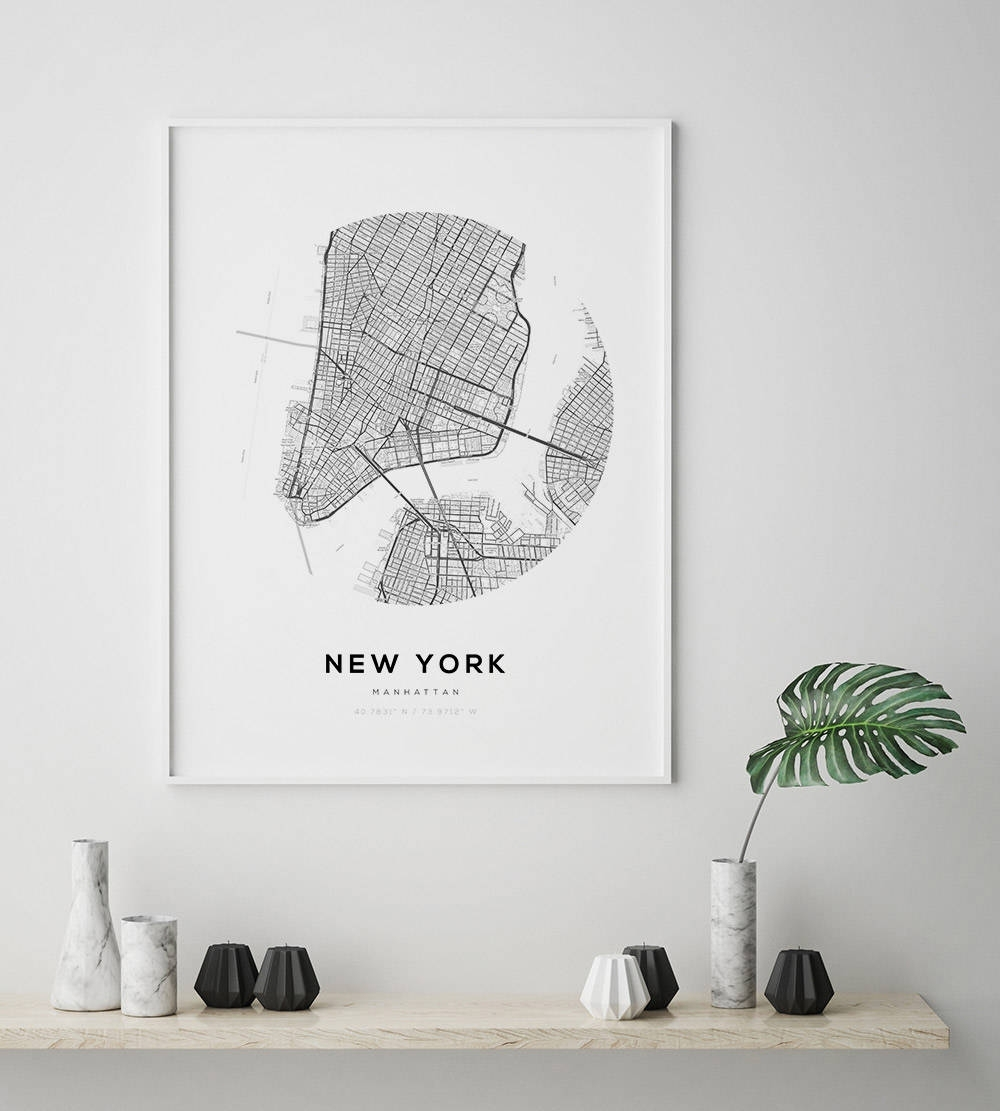 New York City Map, Ny Map Art, Modern Minimalist, Nyc Map Poster Regarding New York City Map Wall Art (Photo 2 of 20)