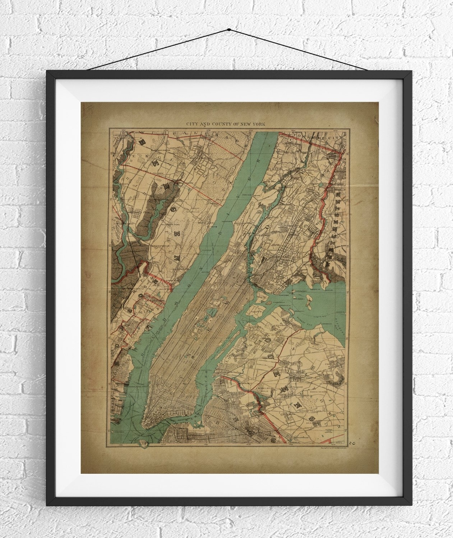 New York City Map Print, Vintage Map Art, Antique Map, Nyc Map, New Throughout New York City Map Wall Art (View 6 of 20)