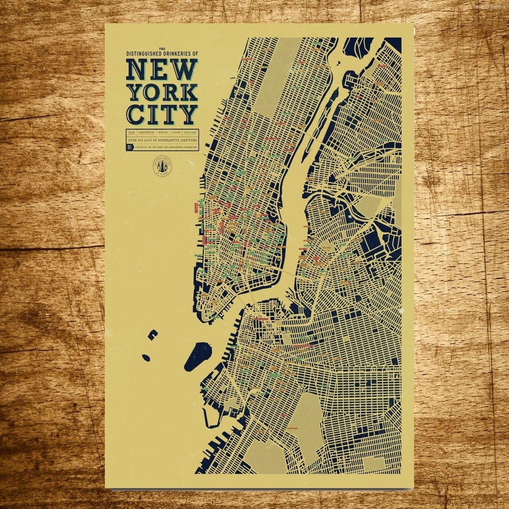 New York City Map Wholesale Vintage Canvas Painting Modern Wall Art With New York City Map Wall Art (Photo 8 of 20)