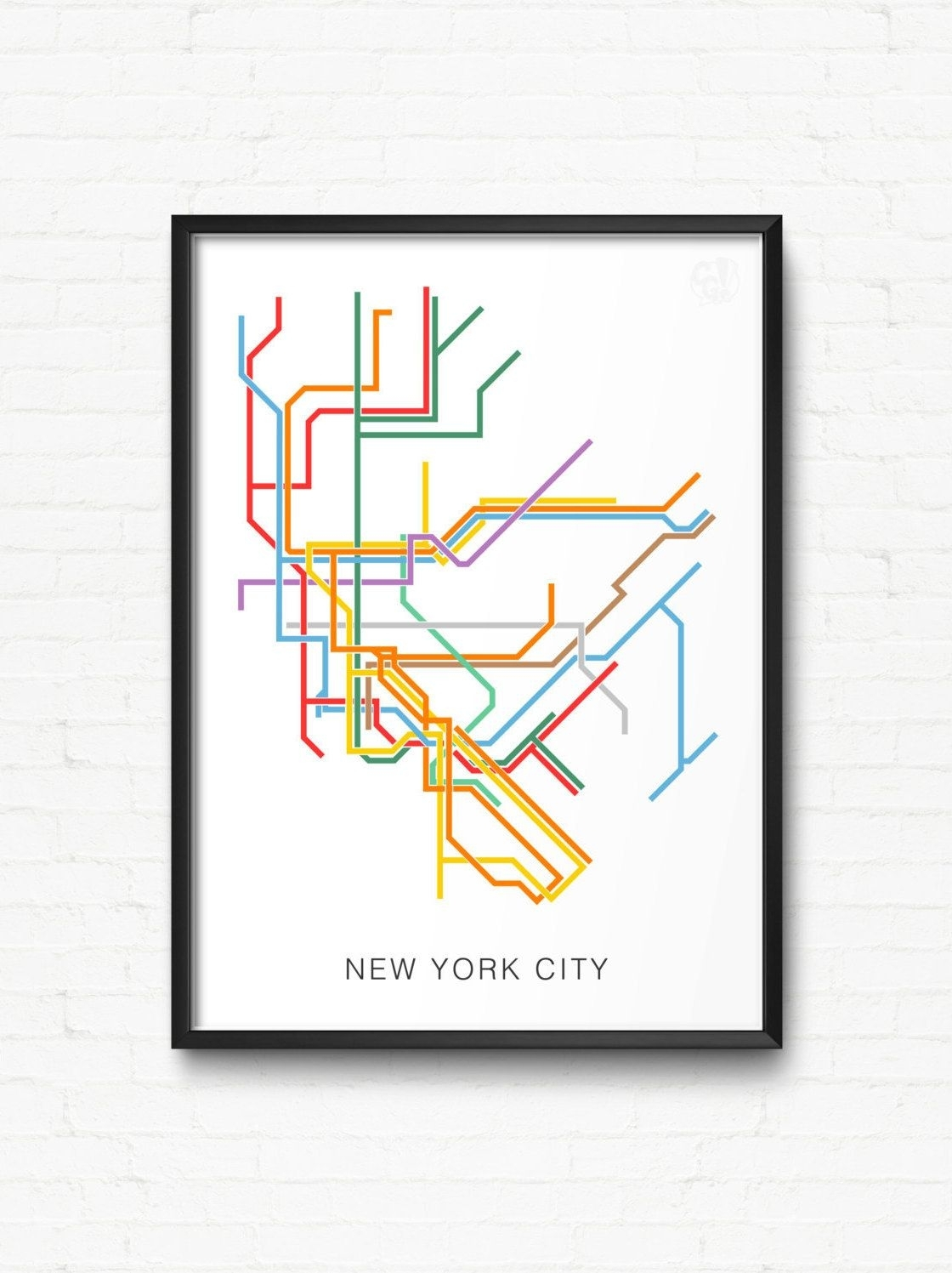 New York City Print Of Nyc Subway Map   City Transit Map Poster, Nyc With Regard To Nyc Subway Map Wall Art (Photo 17 of 20)