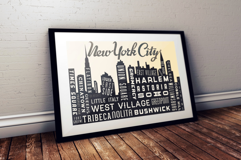 New York City Skyline New York Retro Poster Nyc Skyline Throughout New York City Map Wall Art (View 4 of 20)