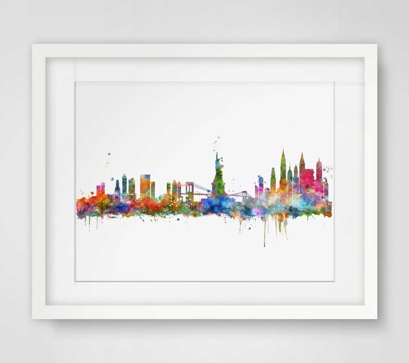 New York City Skyline Watercolor Poster Ny City Map Skyline Art Inside New York City Map Wall Art (Photo 10 of 20)