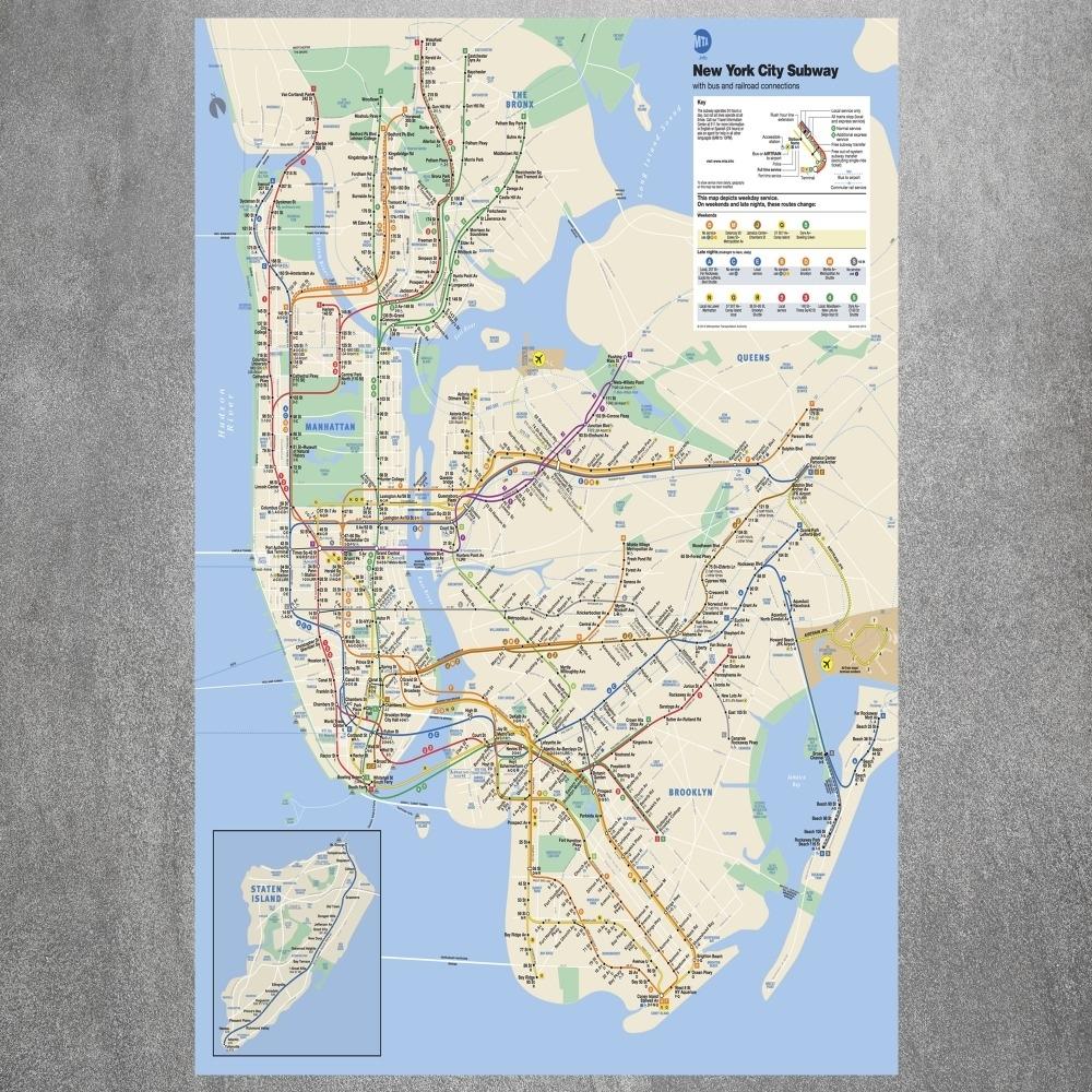 New York City Subway Map Canvas Art Print Painting Poster Wall Inside New York Subway Map Wall Art (Photo 3 of 20)