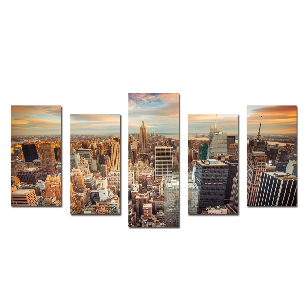 New York Cityscape Empire States Building Split 5 Panel Canvas Wall Within New York Canvas Wall Art (View 8 of 20)