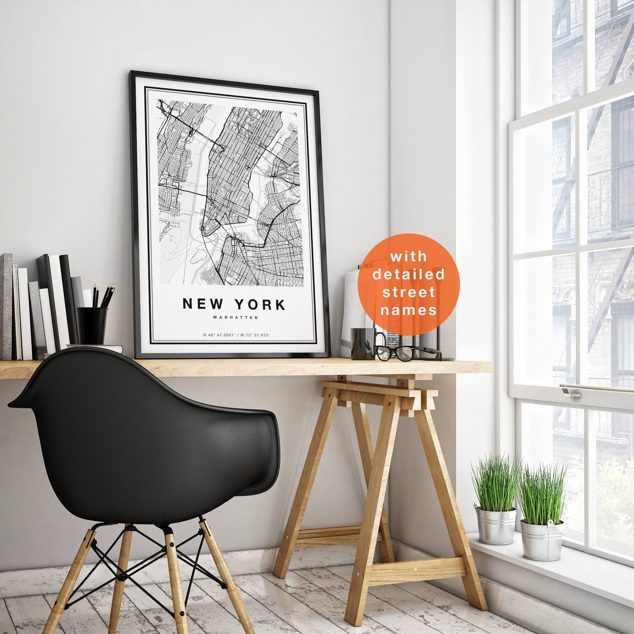 New York Map, New York City Map Print, Manhattan Map Print, Nyc Map Regarding New York City Map Wall Art (Photo 20 of 20)