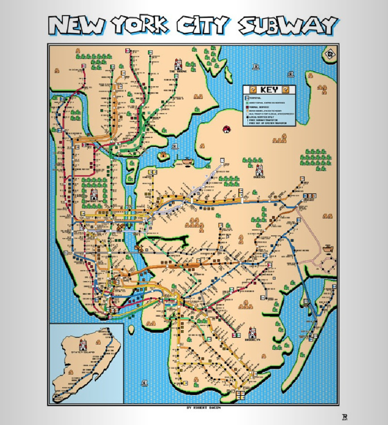 New York Subway Map Designed Ala Super Mario Brothers 3 | Viewing Nyc Throughout New York Subway Map Wall Art (Photo 19 of 20)