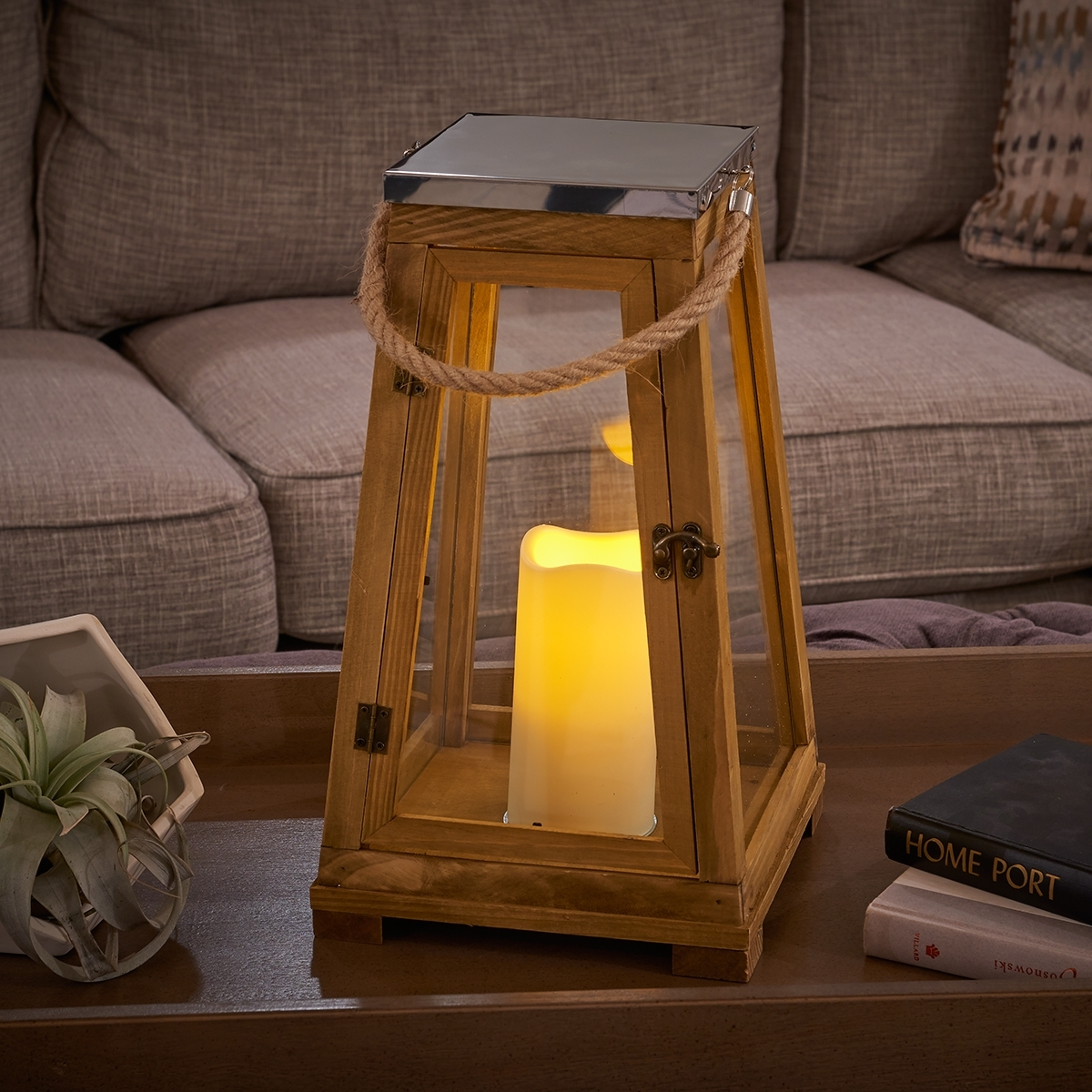 Newport Candle Lantern | Natural Wood | Smart Living pertaining to Outdoor Wood Lanterns (Image 12 of 20)