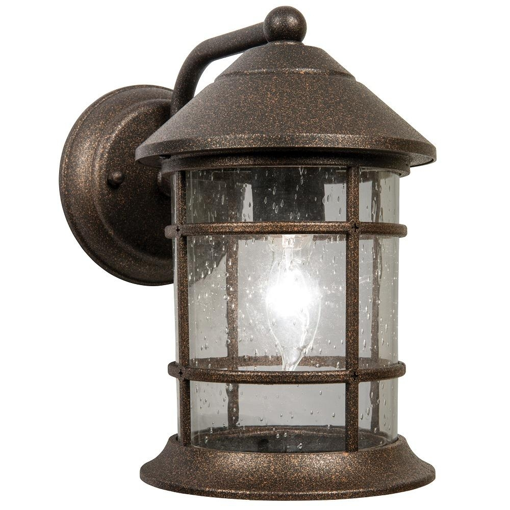 Newport Crest Sunset 1-Light Bronze Outdoor Wall Lantern-7787-02Bz pertaining to Outdoor Railroad Lanterns (Image 13 of 20)