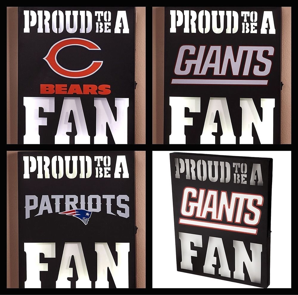 Nfl Team Lighted Wall Art   Bears, Giants, Patriots Led Bar Sign With Nfl Wall Art (Photo 15 of 20)