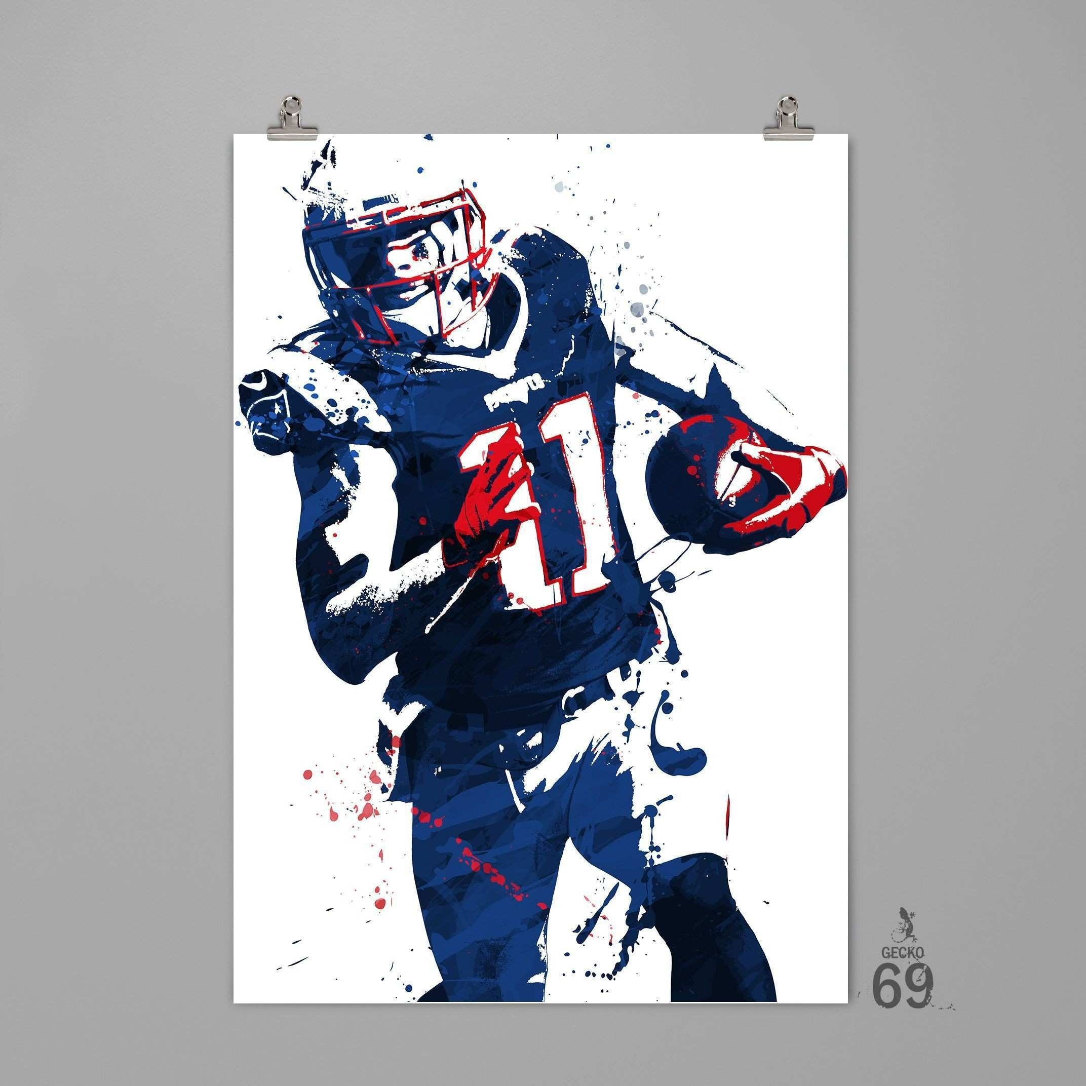 Nfl Wall Art Awesome Julian Edelman New England Patriots Art Print With Regard To Nfl Wall Art (Photo 3 of 20)
