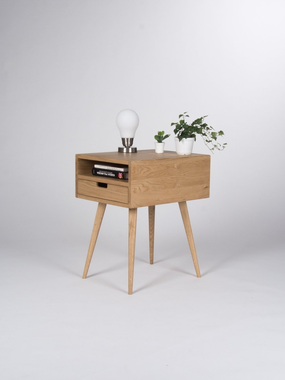 Nightstand, Bedside Table, End Table, With One Drawer And Open Shelf Regarding Mid Century Modern Egg Tables (Photo 8 of 30)