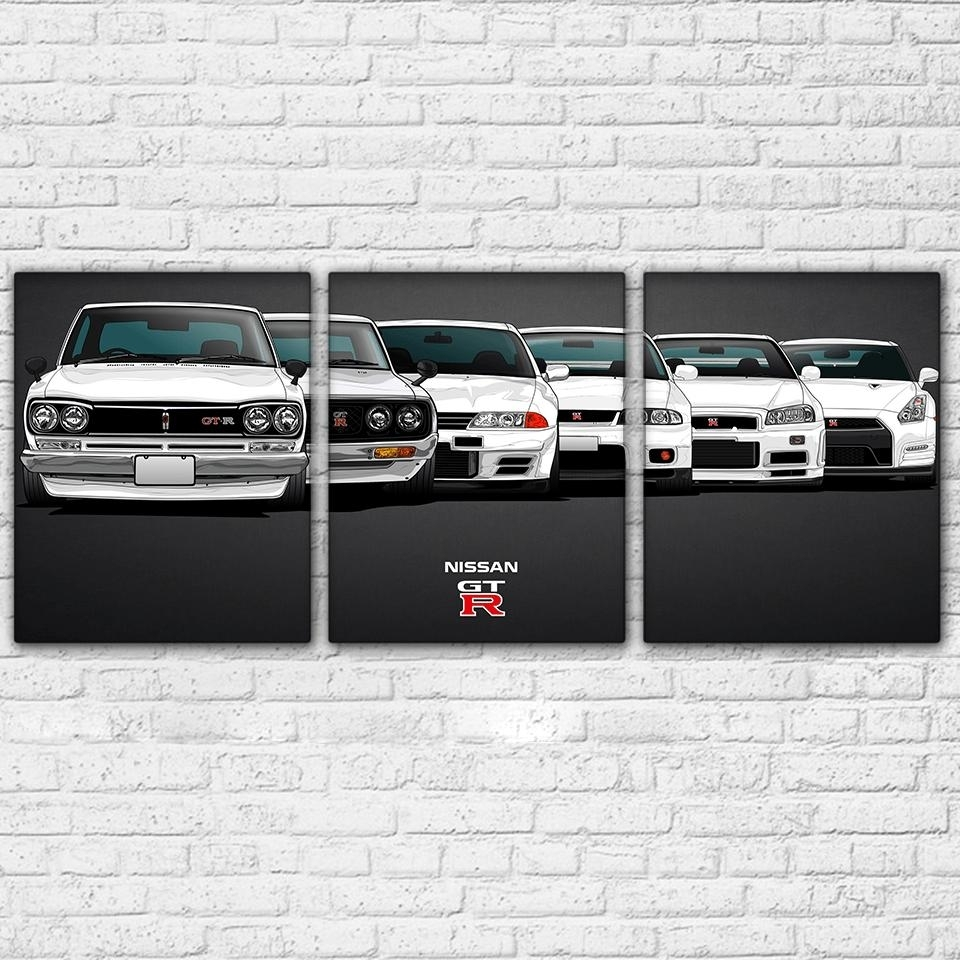 Nissan Skyline Gt R Gtr Sports Car 3 Panel Wall Art Canvas Print Intended For Car Canvas Wall Art (Photo 20 of 20)