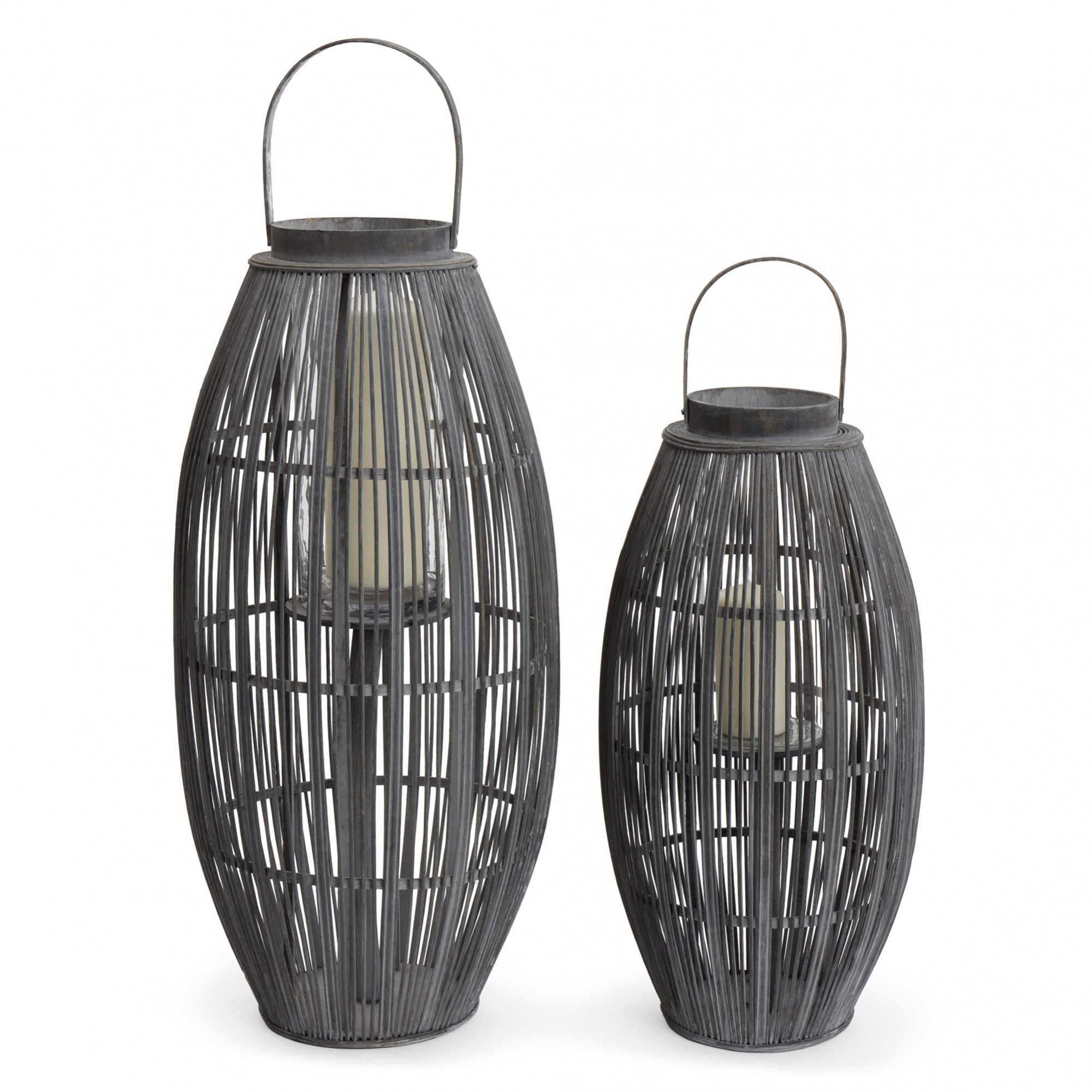 Niya Garden Lantern, Light Grey With Large Cage Design With Regard To Outdoor Bamboo Lanterns (View 15 of 20)