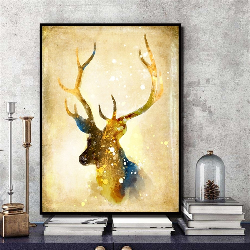 Nordic Elk Unframed Room Decor Modern Abstract On Canvas Huge Wall Throughout Huge Wall Art (View 12 of 20)