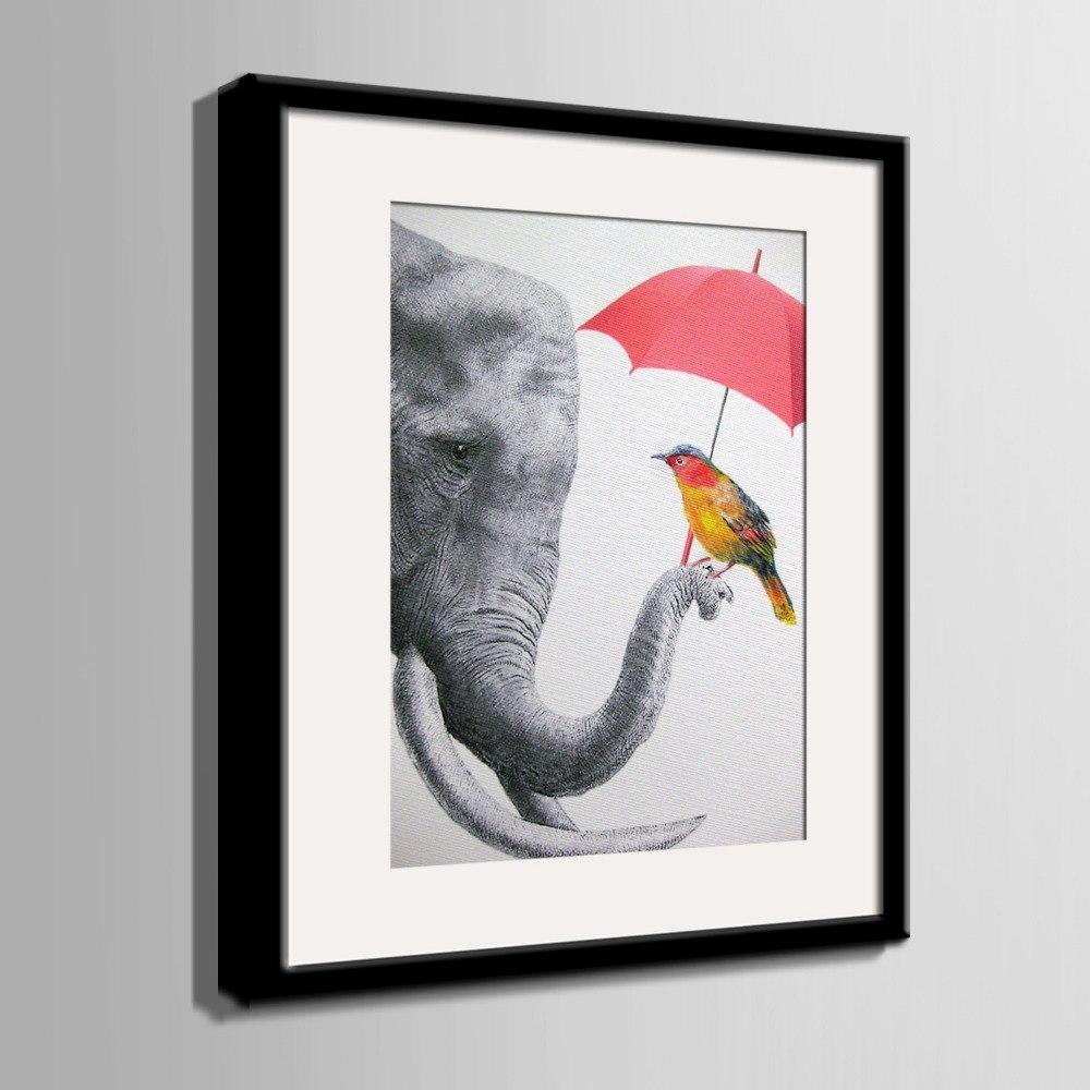 Nordic Style Art Print Framed Canvas Painting Art Elephant And Bird inside Bird Framed Canvas Wall Art (Image 18 of 20)