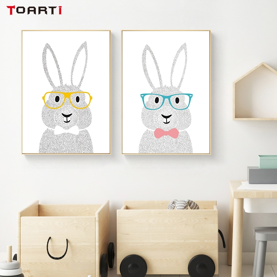 Nordic Style Cartoon Bunny Canvas Painting Wall Art Poster And Print Pertaining To Bunny Wall Art (Photo 17 of 20)
