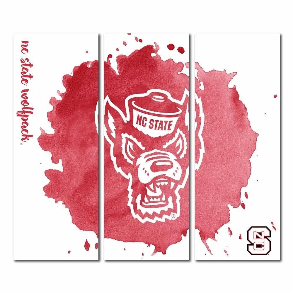 North Carolina State Wolfpack Nc State Triptych Canvas Wall Art Regarding North Carolina Wall Art (Photo 17 of 20)