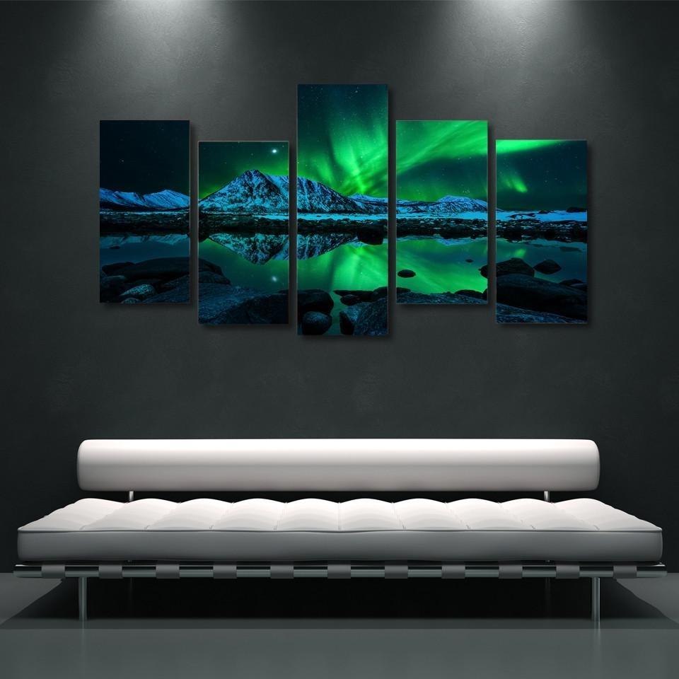 Northern Lights Aurora Borealis Piece Wall Art Canvas Db A B B Dc X Within Wall Art (Photo 16 of 20)
