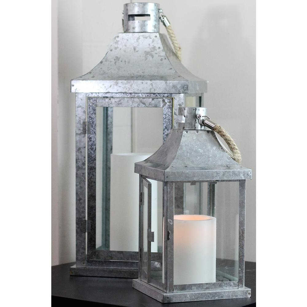 Northlight Industrial Flecked Metal And Glass Pillar Candle Lanterns Intended For Outdoor Lanterns For Pillars (Photo 15 of 20)