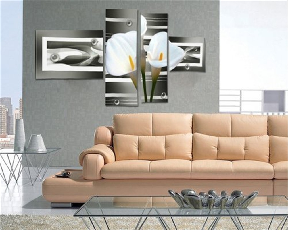Not Framed) 4 Piece White Lily Flower Modern Home Wall Decor Canvas With 4 Piece Wall Art (Photo 17 of 20)