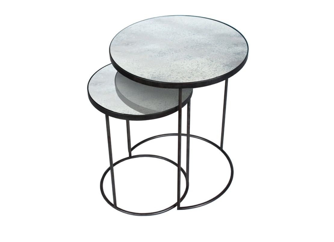 Notre Monde Clear Nesting Side Table Set Heavy Aged Ro | Ethnicraft Within Set Of Nesting Coffee Tables (Photo 12 of 30)